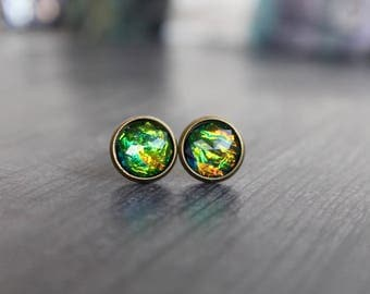 Stunning Synthetic Fire Opal Stud Earrings, 10mm, Rainbow Fire, Bronze Base, Birthday Gift, Small Studs