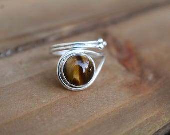 Gorgeous Tigers Eye Sterling Silver Ring- Size 8- Tigers Eye Jewelry- Gift for Her
