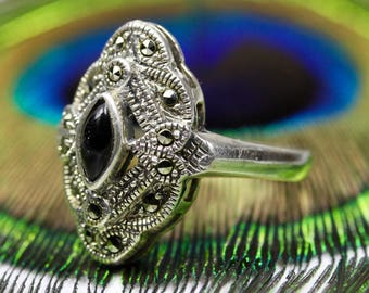 Art Deco Onyx & Marcasite Solid Sterling Silver 925 Design Ring Size P - 7 1/2