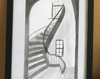 "Small Steps : 5.5 x 8.5"" ink on paper (9 x 11 framed)"