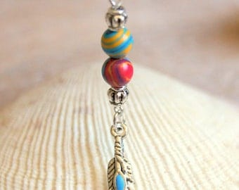 Feather pendant and Rainbow agate beads