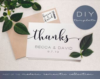 Wedding Thank You Card Template - Modern Romantic Collection - Thank You Card - DIY Printable Black and White