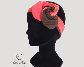 Headband, single coral headband and brown cotton