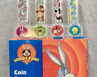 1998 Looney Tunes Coin Sorter / Bank for Quarters, Nickels, Pennies, and Dimes in Original Box - Warner Brothers