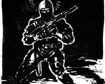 Original ink artwork of soldier, war dramatic black and white one of a kind art illustration