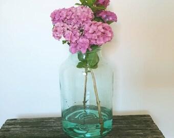 Vintage voorraadpot | blauw glas | Fuit of candy jar als vaas