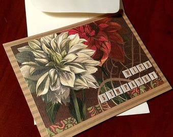 Handmade Sympathy Card with Flowers