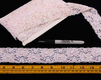 6 Yards Trim, Stretch Lace, Off - White, Beads, Iridescent Sequins, Pale Pink