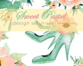 Aquarel fashion, Fashion art, clipart set, clipart floral, Watercolor art, Watercolor Fashion, Fashion shoes, clipart set, Flower clip art