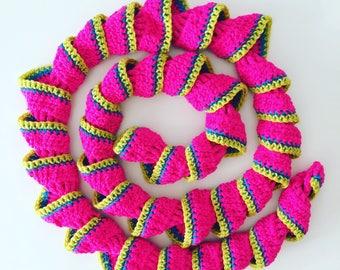 Neon Raspberry Swirl Scarf / Crochet Boa / Crochet Swirl Scarf