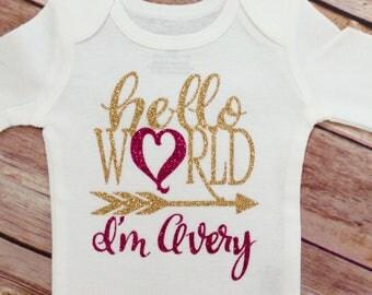 Hello World I'm Name Girl Pink and Gold Glitter Arrows Bodysuit, Hello World Girl One, Newborn Girl One
