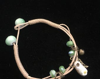 multi-strand HEMP cord BEADED bracelet