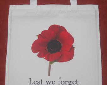 Remembrance Poppy Lest we Forget Shopping Bag for Life White Red Poppies British Legion