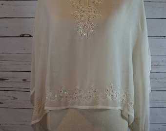 Vintage Sheer Beaded Top