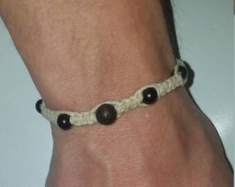 Braided Hemp/Large Black Bead Bracelet