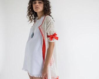 women white dress, women jacket dress, white jacket dress, women summer dress, women summer jacket, bohochic dress, eyelet dress, handmade