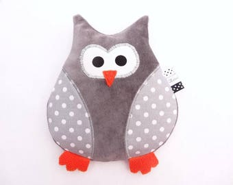 Heated pillow OWL star dots white, hot/cold wheat serigraphs child heating