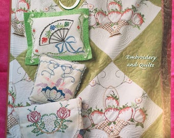 Vintage Garden Design Originals Pattern Book by Suzanne McNeill Embroidery and Quilts with delicate vintage floral designs
