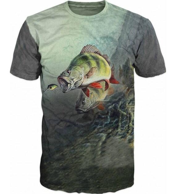 Cool Mens T-shirt 3D Perch Sublimation Printed Perch Fishing Hobby 5wXR1zigu