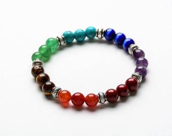 7 CHAKRA BEADED BRACELET  8mm Healing Gemstones -Yoga Bracelets - Spiritual Jewelry - Gift Women
