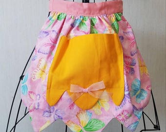 Butterfly Cotton Kids Apron with Pocket