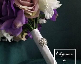 Purple Bridal Bouquet, Wedding Bouquet, Bling Bouquet