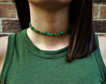 Green Choker- Real Peridot and Turquoise Stones