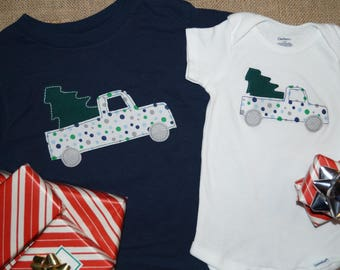Pickup Truck with Christmas Tree Boy's Shirt