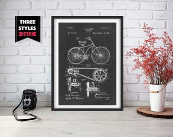 Bicycle Patent   Bicycle Poster    Bicycle Wall Art   Bicycle Instant Digital Download   Get 3 Colour Backgrounds