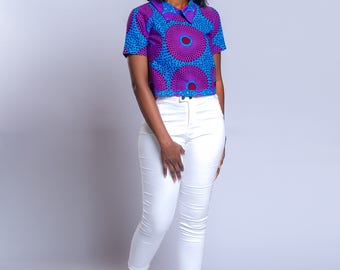 African print top, African clothing, Ankara top, Ankara clothing, Crop top.