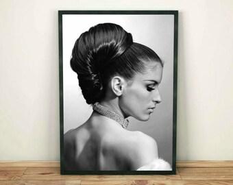 Woman Wall Print, Fashion Model Print, Model Print, Black and White, Woman Wall Art Print, Fashion Printable,Modern Decor,Printable Wall Art
