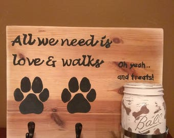 Hand Painted Personalized Dog Treat and Leashes Sign