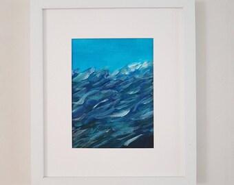 "Framed Original Acrylic Abstract Art Artwork - Name: ""Sub Mari"" - Blue Wave, Water, Sea and Ocean"