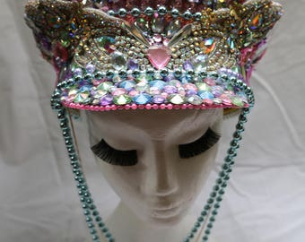 Burning Man Pastel Ponies Festival Captain's Hat Iridescent Glitter
