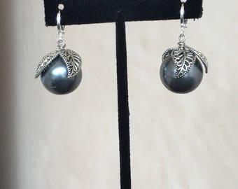 Classy Dark Gray leafs Pearl  Earrings by Dobka