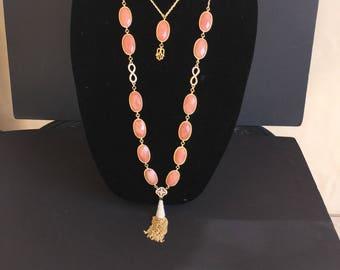 Double  Infinity Peach Crystal Necklace by Dobka