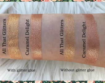 Goddess Duo, Two 26 mm single pan eyeshadows, gold and bronze micro-fine glitter