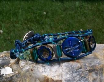 Blue on Blue Dragonfly Wrap Bracelet