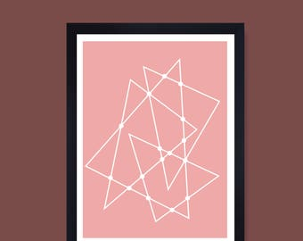 Geometric print, Minimalist print, scandi print, mid century, hygge print, Contemporary, Modern art, Wall art, pink and white print