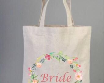 Bridal Bags, Bridal Tote Bags, Bridesmaid Bag, Bridal Gifts, Canvas Tote, Cotton Bag, Wreath Bag, Bridal Shower Gifts, Welcome Tote Bags