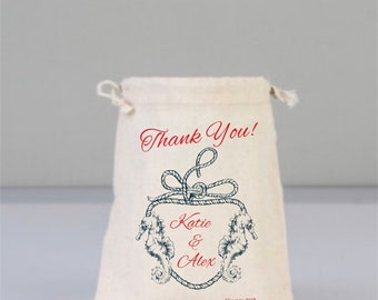 Cotton Bags Drawstring, Marine  Bags, Sea Life, Bridal Shower, Bridal Shower Gift, Wedding Bag, Bridesmaid Gifts, Thank You Gift, Custom Bag