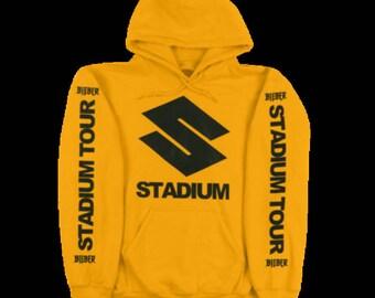 Justin Bieber Purpose Tour | The World Tour Pullover | Stadium tour | Yellow Hoodie