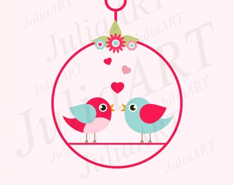 romantic bird on a swing vector image