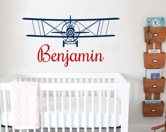 Airplane Wall Decal Boy Airplane Wall Sticker Nursery Vinyl Biplane Baby Boy Nursery Decor. Personalized Name Children Nursery Decal F30