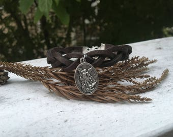 Braided Leather Bracelet - St. Michael