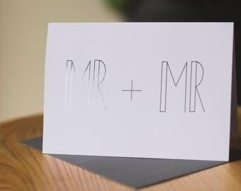 Mr + Mr - Gay Wedding/Engagement Card