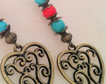 In love with turquoise heart-shaped brushed copper pendant