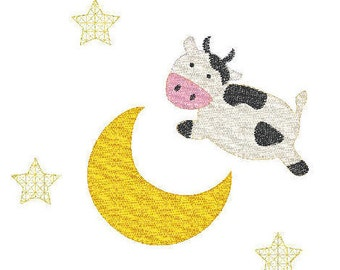 nursery rhyme cow jumped over the moon blanket stitch applique design file for embroidery