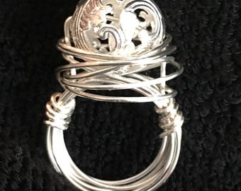 Silver ring with Filagree