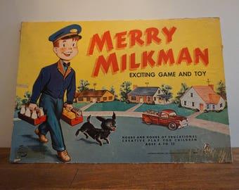 Merry Milkman 1950s Vintage Board Game Box Top